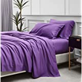 Bedsure 100% Bamboo Sheets Set Twin Purple - Cooling Bamboo Bed Sheets for Twin Size Bed with Deep Pocket 3PCScs