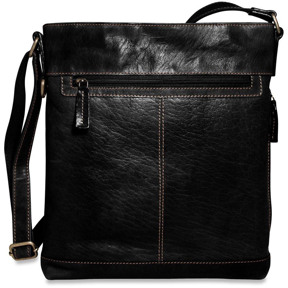 Jack Georges Mens Voyager Crossbody Bag in Black