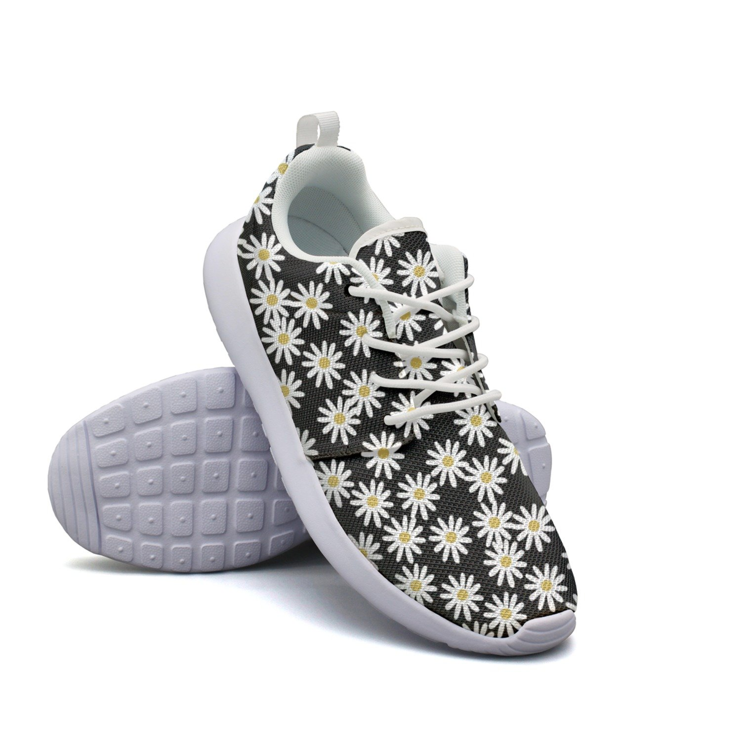 fbe2ae96dd48 Amazon.com  FGBLK New Daisy On Black Background Mens Guys Custom Design  Running Shoes  Sports   Outdoors