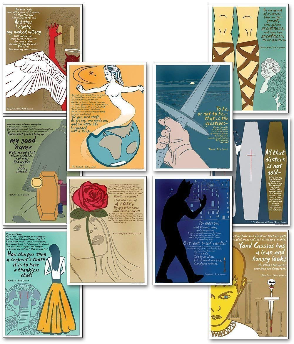 Quotable Shakespeare Poster Set Discount Classroom Bundle Featuring Macbeth Hamlet Romeo and Juliet and more Plain Paper Laminated or Framed