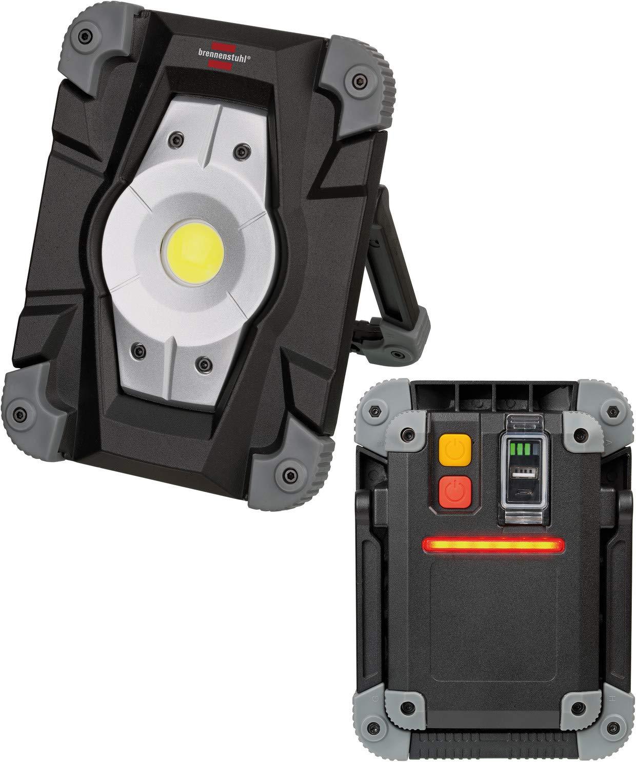 2000 Lumen, utilisation en interieur et Ext/érieur IP54, 2 Modes Eclairage, Autonomie Max 6H Brennenstuhl Projecteur LED Rechargeable 20W avec feu de signalisation LED Noir