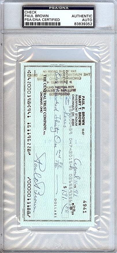 Paul Brown Authentic Autographed Signed Check Cleveland Browns