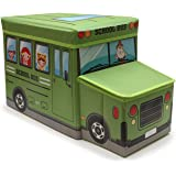 Egab Foldable Storage and Toy Box - Stool Bus Shaped (Green)