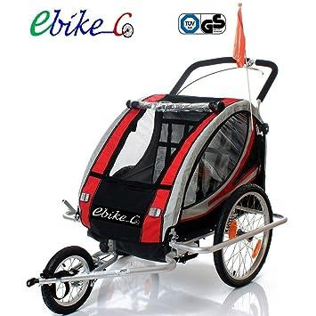 Remolque bicicleta aluminio, ebikeco 7 confort suspensión, rueda 360º ROJO
