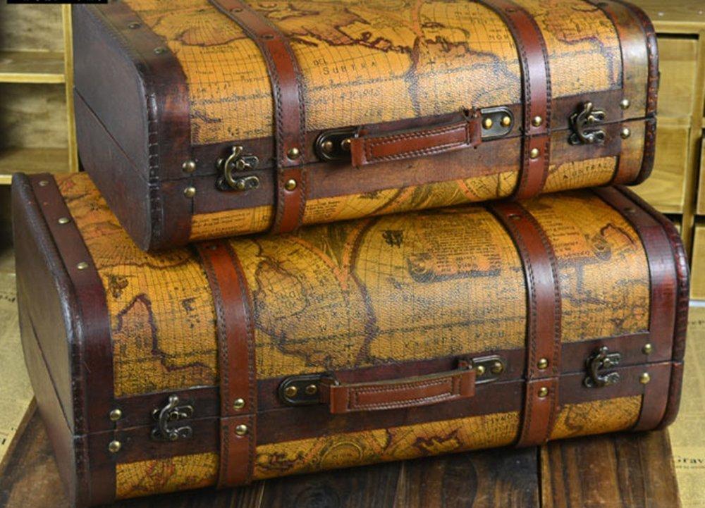 SOMNUS258 2個set 地図 激安 トランクケース 小型 ミニ アンティーク トランクケース レトロ かわいい やすい スーツケース 超軽量 小型 人気 静音 かわいい トラベルトランク ヨーロッパ風 クラシックスタイル 旅行 出張 収納 写真 道具 部屋飾り アンティーク 雑貨 レトロ 旅行 便利 グッズ   B07FPGCS83