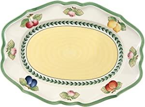 Villeroy & Boch French Garden Fleurence Oval Platter, 14.5 in, White/Multicolored