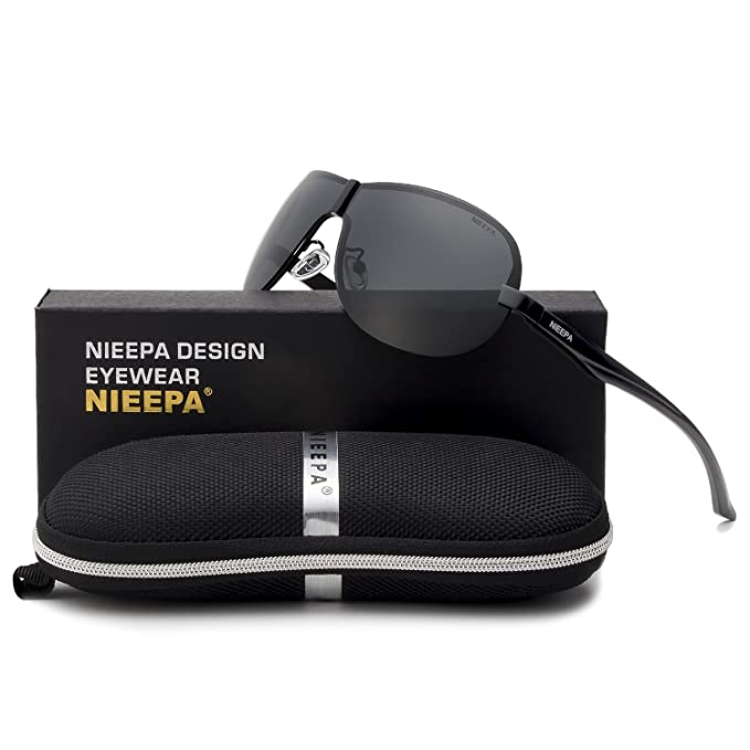 NIEEPA Men Polarized Sunglasses Fashion Brand Rimless Driving Sun Glasses Outdoor Goggle (Grey Lens/