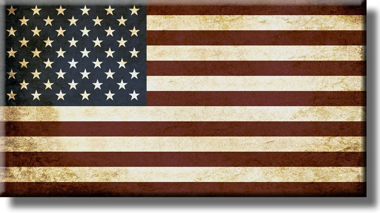 Vintage American Flag Picture on Stretched Canvas, Wall Art D cor, Ready to Hang