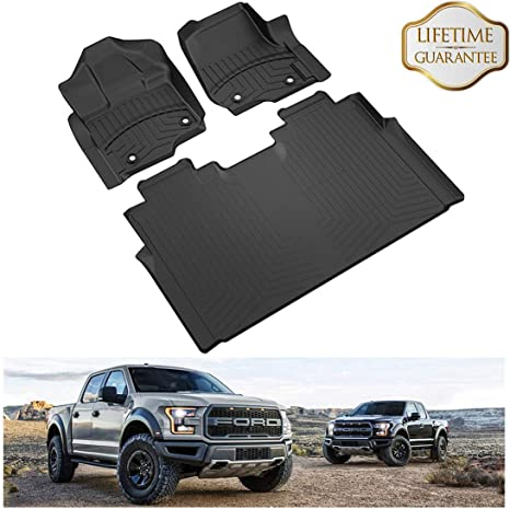 oEdRo Fit for 2015-2019 Ford F150 Super Crew//SuperCab TPE Front Floor Mats Liner