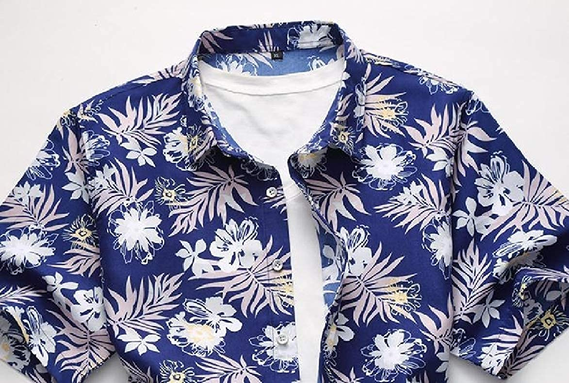 Abetteric Mens Oversize Short Sleeve Printing Relaxed-Fit Leisure Dress Shirts Tops