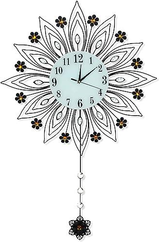 JUGV Large Drop Wall Clock,Non-Ticking Silent Quartz Metal Wall Clocks,Peacock Wall Clock