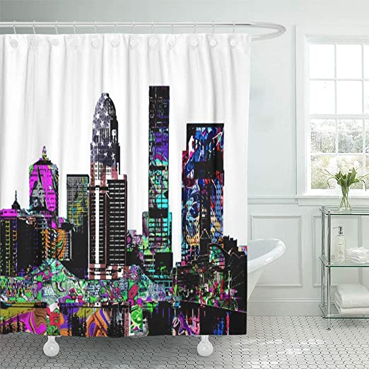 "Colorful Graffiti 71/"" Bathroom Decor Waterproof Fabric Shower Curtain Bath Set"