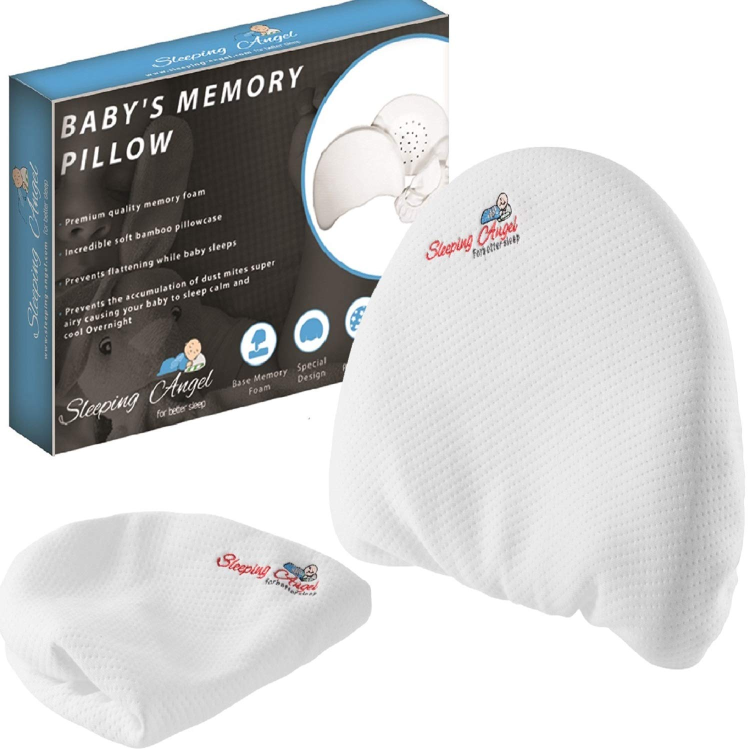Baby Head Shaping Pillow for Newborns prevent flat head syndrome (Plagiocephaly),Rolling Over. Made of Premium Memory Foam.comes with 2 Bamboo Pillowcases.Perfect Shower Gift.