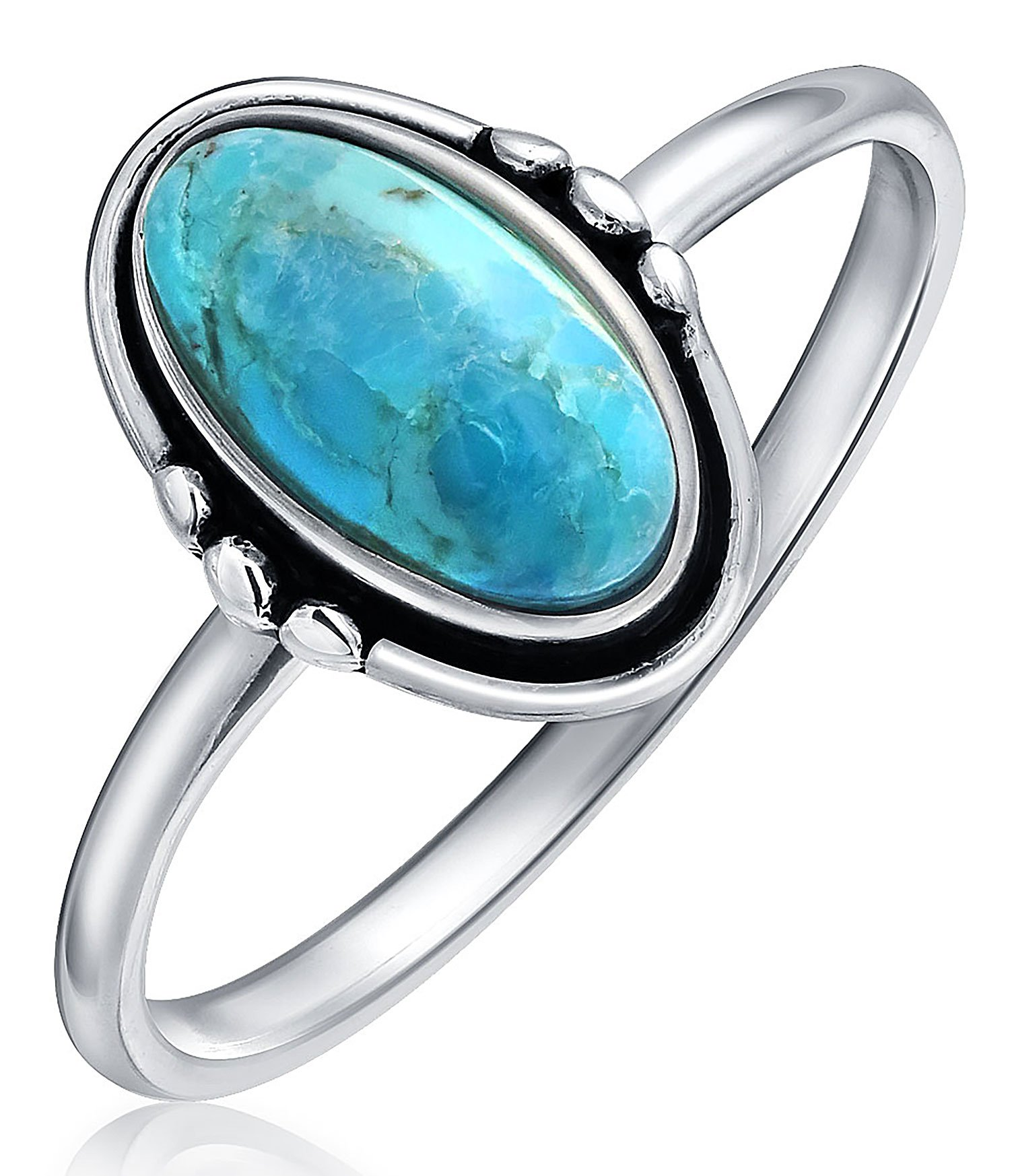 Modern Southwestern Style Oval Natural Turquoise Sterling Silver Ring