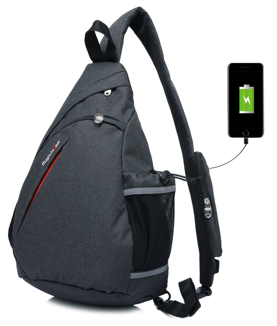 Amazon.com  Magictodoor Sling Bag Travel Backpack Wear Over Shoulder or  Crossbody Chest Bag Black  Sports   Outdoors d3388f3b466d