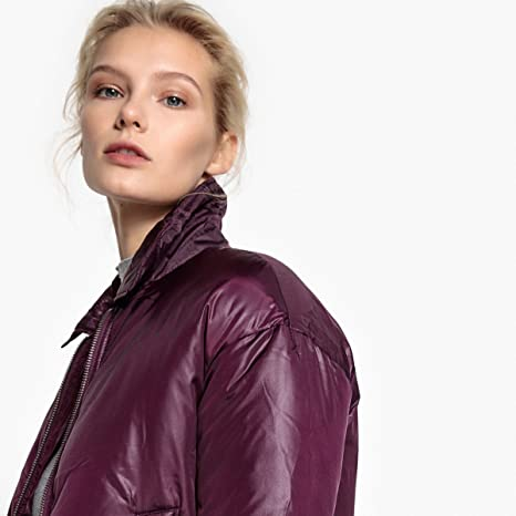 09e55e8dac748 Amazon.com  La Redoute Collections Womens Oversize Bomber Jacket Purple  Size L  Clothing