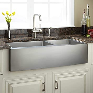 Signature Hardware 261882 Fournier 36 60 40 Offset Double Basin Stainless Steel Farmhouse Sink With Curved Apron Kitchen Sinks Amazon Canada