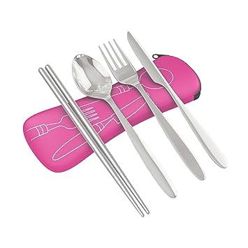 Juego de 4 piezas de cubiertos de acero inoxidable (cuchillo, tenedor, cuchara)