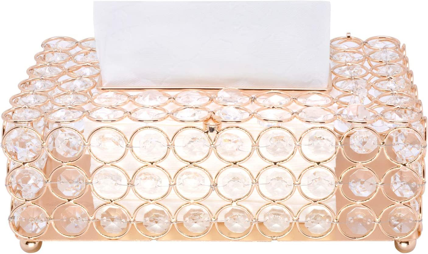 Gold Decorative Tissue Box Cover Tissue Holder Crystal Napkins Container Facial Tissue Holder for Elegant Decor VoiceFly Rectangular Crystal Tissue Box Cover