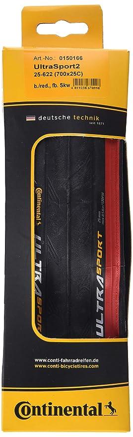 2x Continental Reifen Ultra Sport 2 25-622 28 Zoll faltbar schwarz rot