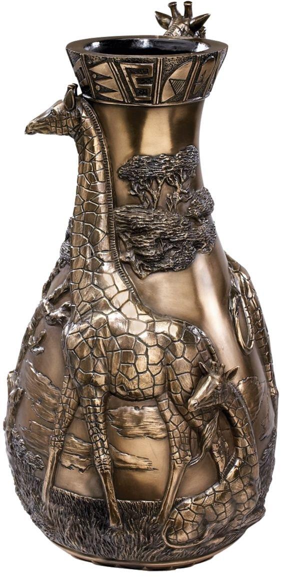 17'' African Wildlife Giraffes Sculpture Statue Flower Vase
