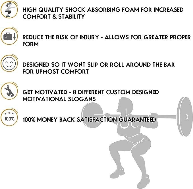 None Squat Protector Gewichtheber Protector Squat Pad Langhantel Pad f/ür Kniebeugen Ausfallschritte Und H/üftst/ö/ße Schaumschwamm Pad Entlastet Nacken Und Schultern w/ährend des Trainings