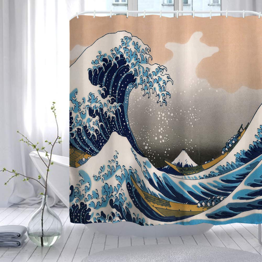 - Waves 150cmx180cm 60 W x 72 L Ortigia Shower Curtain Bath Curtain with Hooks Waterproof PVC-Free Odorless