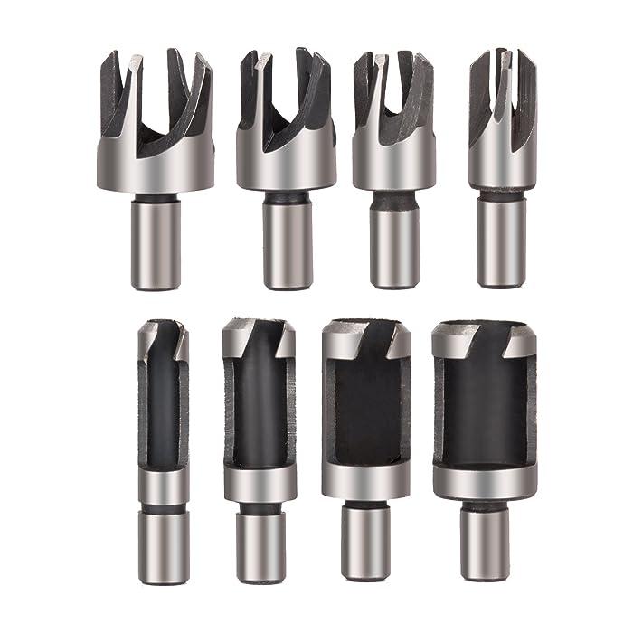 """Rocaris 8pcs Wood Plug Cutter Drill Bit Set Straight and Tapered Taper 5/8"""" 1/2"""" 3/8"""" 1/4"""" Cutting Tool Cork Drill Bit Knife"""