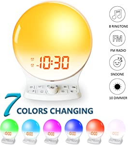 ROCAM Sunrise Alarm Clock, Wake Up Light Sleep Aid Digital Alarm Clock Radio with Sunset Simulation and FM Radio, Dual Alarms, 5 Nature Sounds, Snooze, Night Light, Dimmer for Bedrooms, Kids, Adults