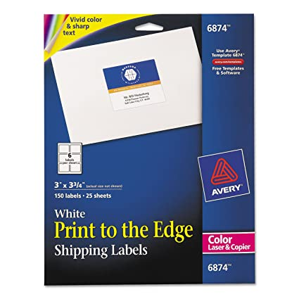 amazon com avery 6874 color printing shipping labels 3 x 3 3 4