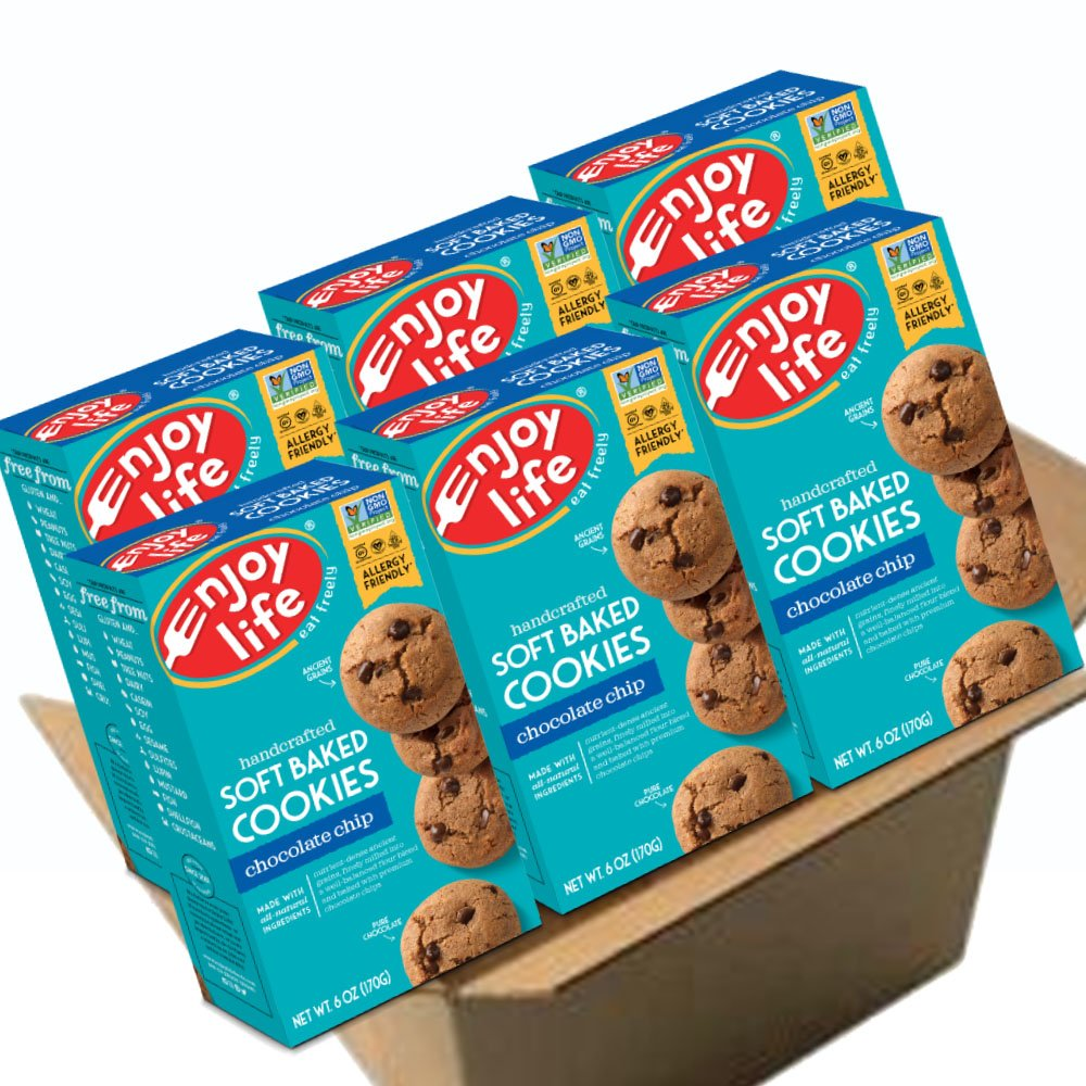 Enjoy Life Soft Baked Cookies, Soy free, Nut free, Gluten free, Dairy free, Non GMO, Vegan, Chocolate Chip, 6 Boxes by Enjoy Life Foods