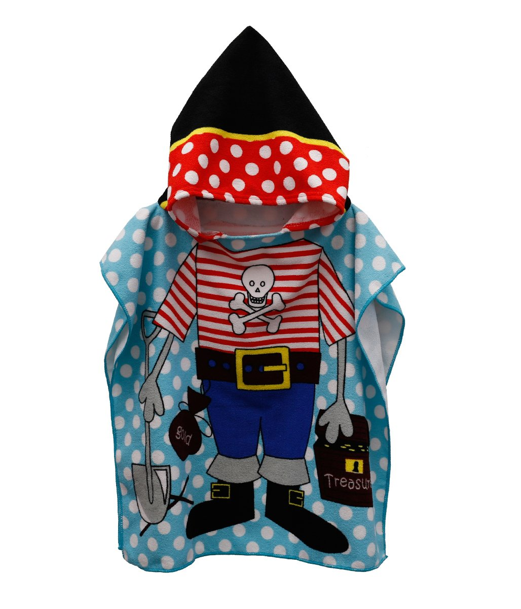 Enjoy Holiday Toddler Hooded Beach Bath Towel – Soft Swim Pool Coverup Poncho Pirate Cape for Kids Boys Children, 5 Year Old Bath Robe