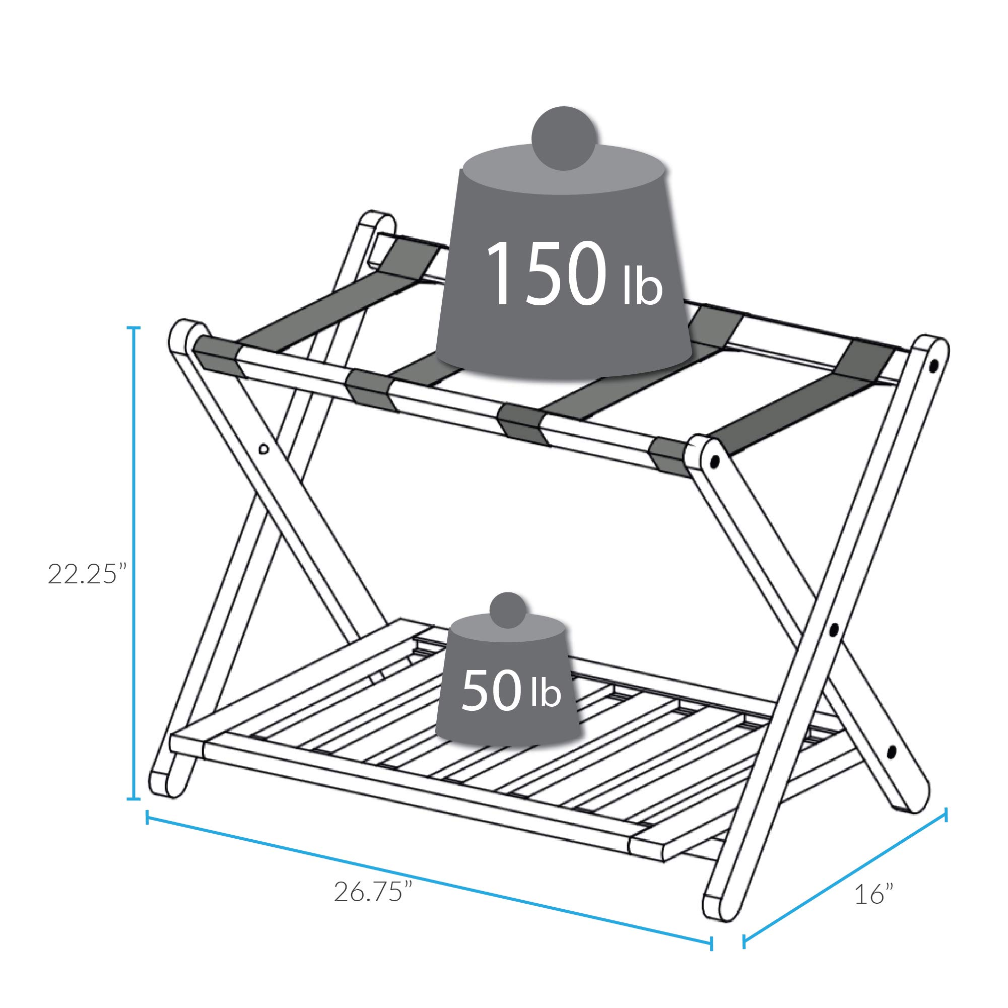 Casual Home Luggage Rack with Shelf by Casual Home (Image #5)
