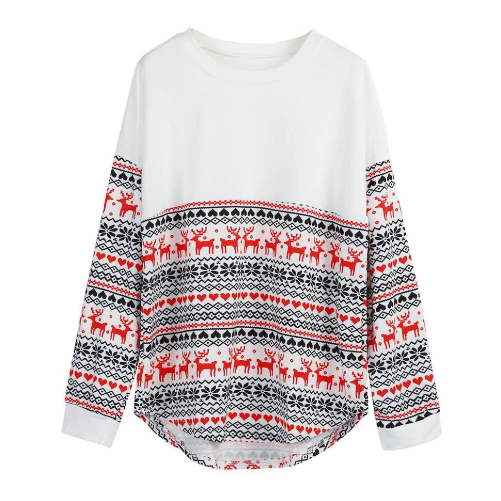 FUNIC Women's Pullover, Merry Christmas Women Long Sleeve Loose Tops Blouse T-Shirt Hoodies (S/M, White)