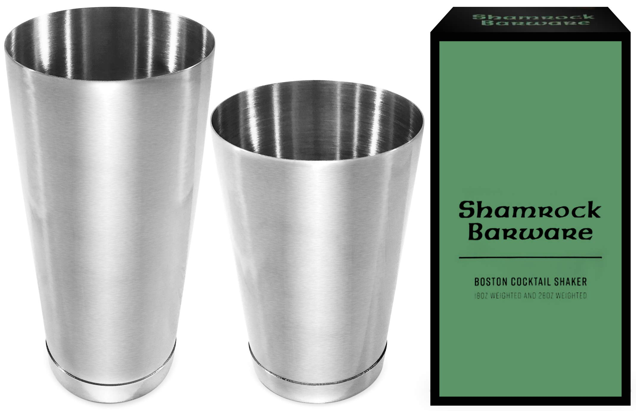 Easy Open Stainless Steel Boston Shaker. Professional Bartender Cocktail Shaker Set: 18 & 28oz Tins are Dual Weighted & Fully Welded onto Bases. Perfect for Beginner