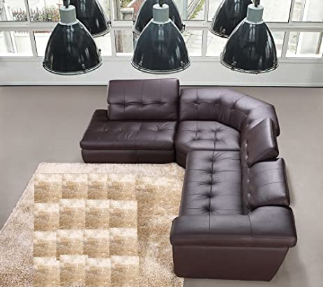 Ju0026M Furniture 397 Full Chocolate Brown Italian Leather Sectional Sofa With Adjustable Headrests : italian leather sectional sofa - Sectionals, Sofas & Couches