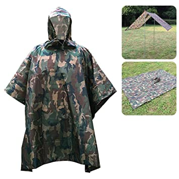lkn-multifunction 3 en 1 impermeable militar camuflaje lluvia Poncho impermeable, utilizado como camping