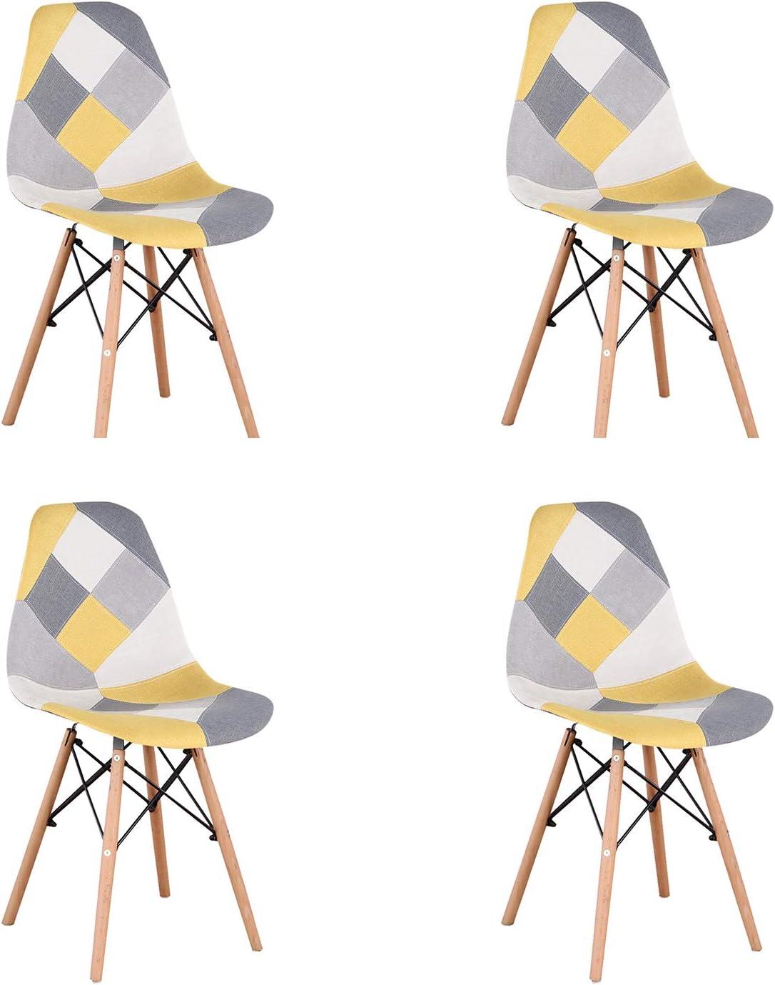 Un conjunto con 4 sillas de comedor hechas de patchwork moderno en estilo nórdico tapizado con tela de patchwork y silla de marco de madera en estilo escandinavo (amarillo)