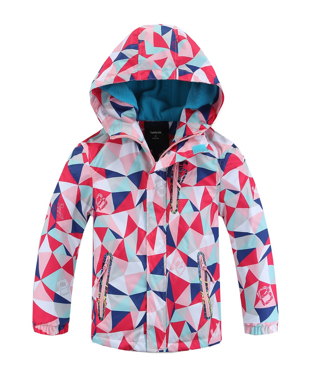 Hiheart Girls Waterproof Fleece Lined Jacket Hood Windproof Rain Coat Pink 9/10