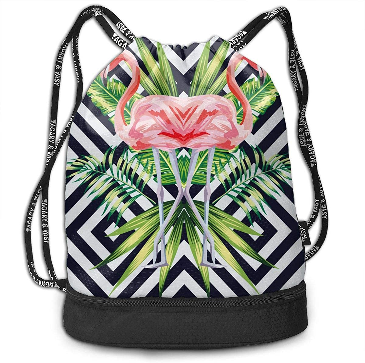 Pink Flamingo With Tropical Leaves Drawstring Bag Multifunctional String Backpack Custom Cinch Backpack Rucksack Gym Bag