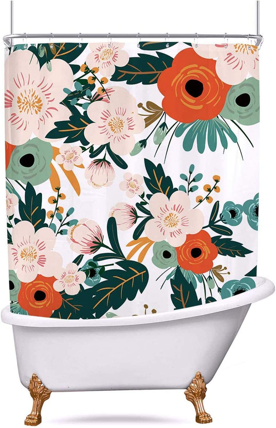 Riyidecor Spring Flower Clawfoot Tub Shower Curtain 180Wx70H Inch Set Season Floral Green Bathroom Decor Fabric Panel Polyester Waterproof All Wrap Around Extra Wide 32 Pack Metal Shower Hooks