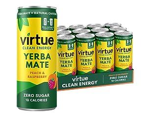 Virtue Yerba Mate - Zero Sugar Natural Energy Drink, 12 Pack (Peach & Raspberry 8.4oz)