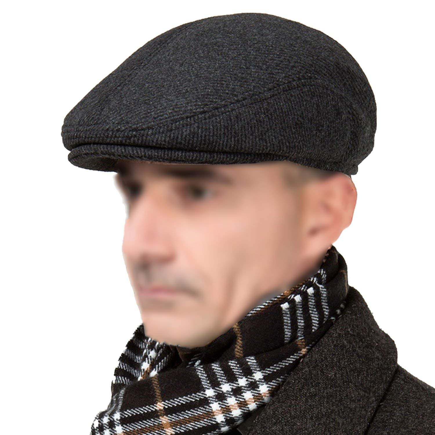 Winter Beret with Earflap for Men Vintage Flat Cap Dad Plaid Peaked Hats