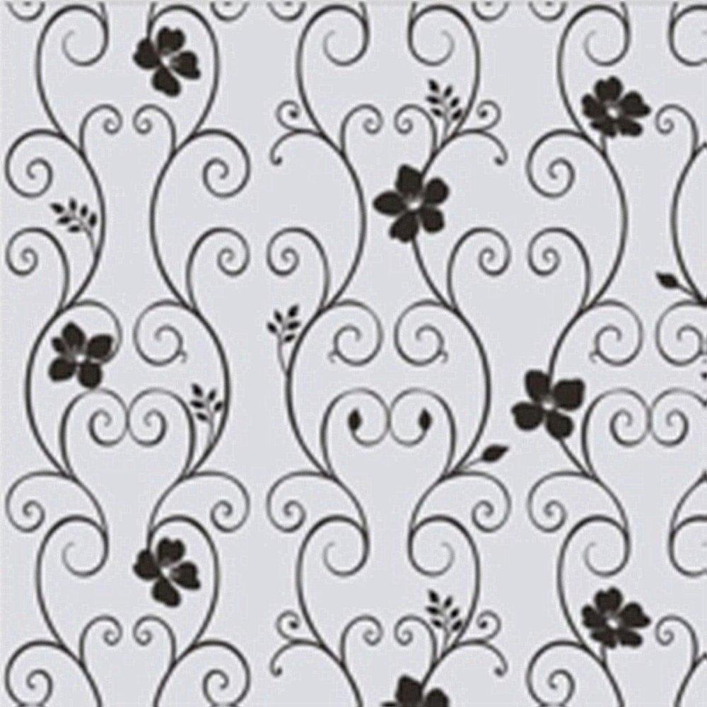 Frosted Glass Window Door Black Floral Flower 45x100cm Sticker Film Decor SOLEDI