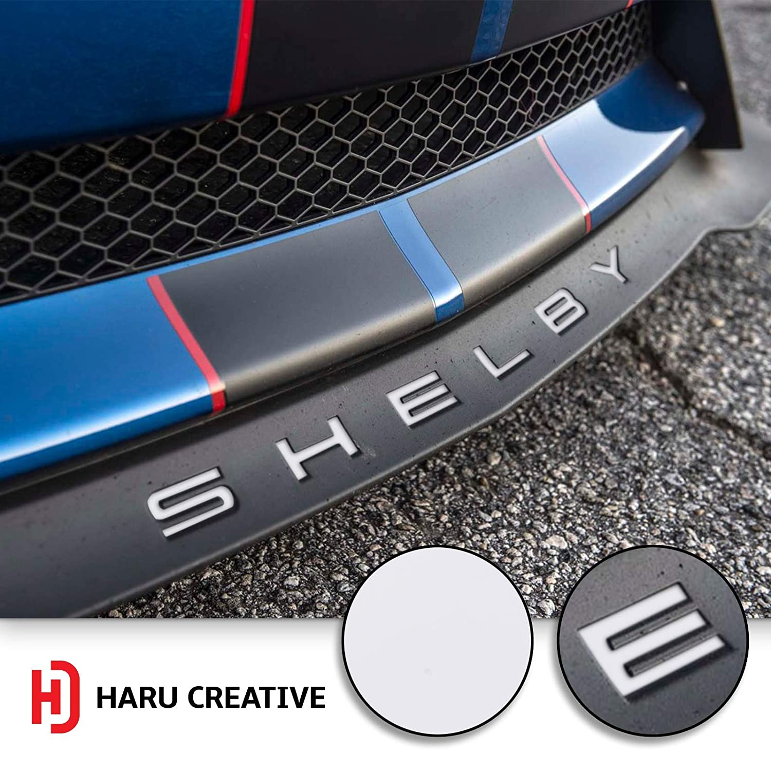 Matte Gunmetal Loyo Front Splitter Lip Hood Grille Letter Insert Overlay Vinyl Decal Sticker Compatible with and Fits Mustang Shelby GT350 2015-2018 Haru Creative