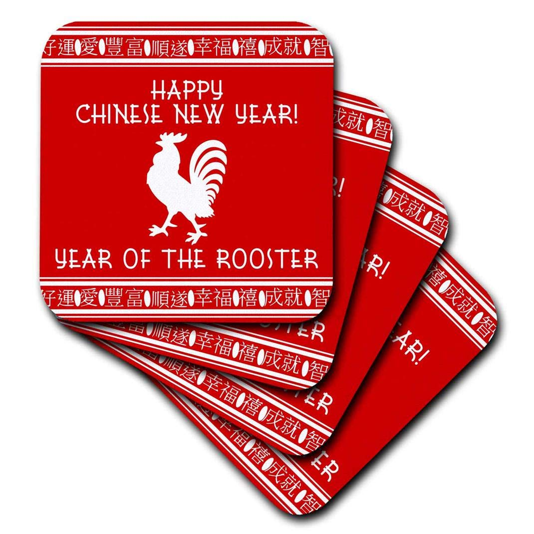 cst/_202116/_1 3dRose Happy Chinese New Year Soft Coasters Year of the Rooster zodiac sign red and white set of 4
