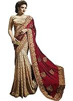 Adorn Fashion New Sattin Silk Georgette Marron & Beige Fancy Saree