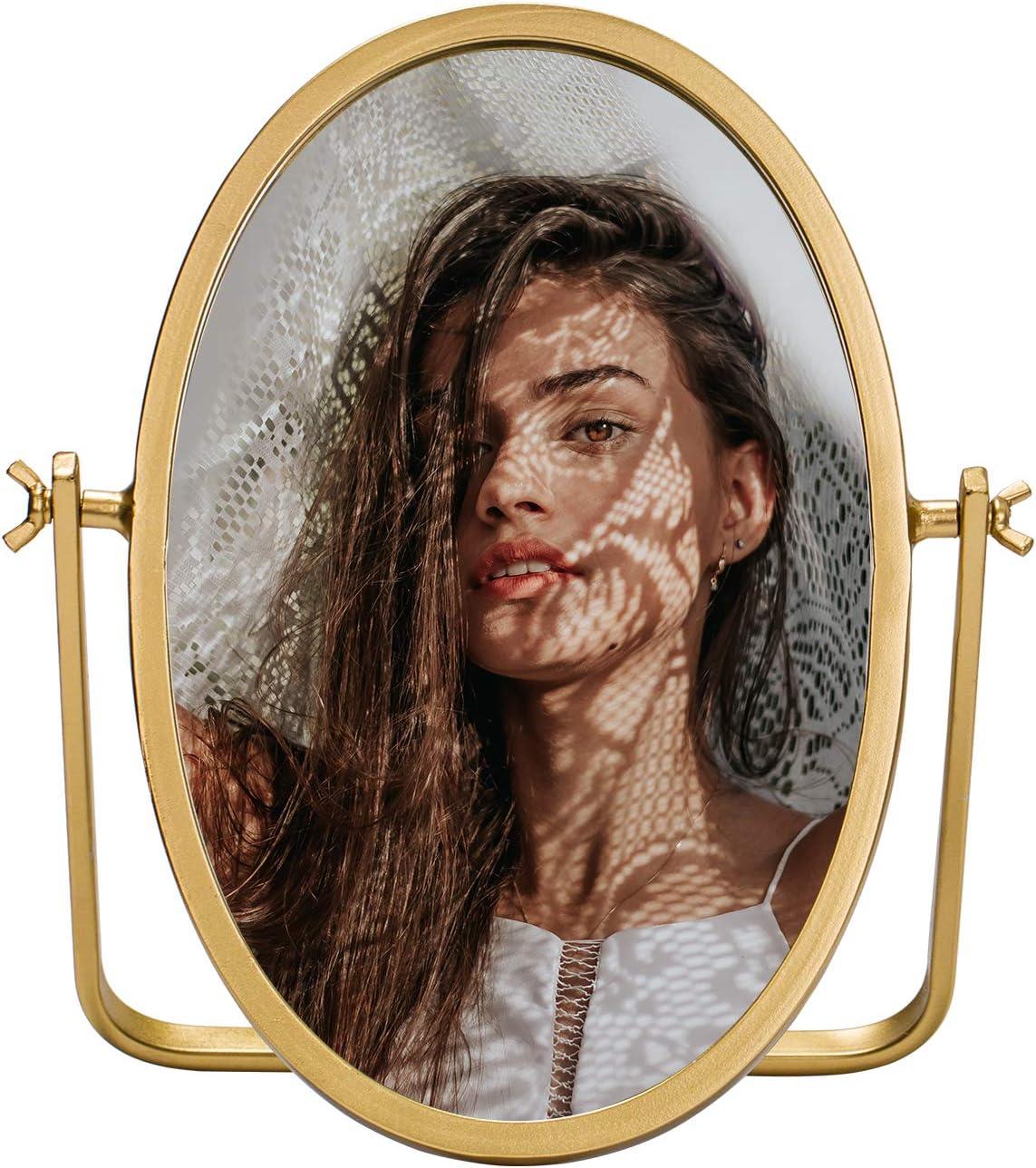 "Geloo Vanity Vintage Makeup Mirror-Oval Desk Mirror Boho Decor 360 Degree Swivel Mirror, 10"" Small Stand Mirror Metal Brushed Modern Gold Finish for Bathroom,Bedroom,Table,Tabletop,Antique,Dresser"