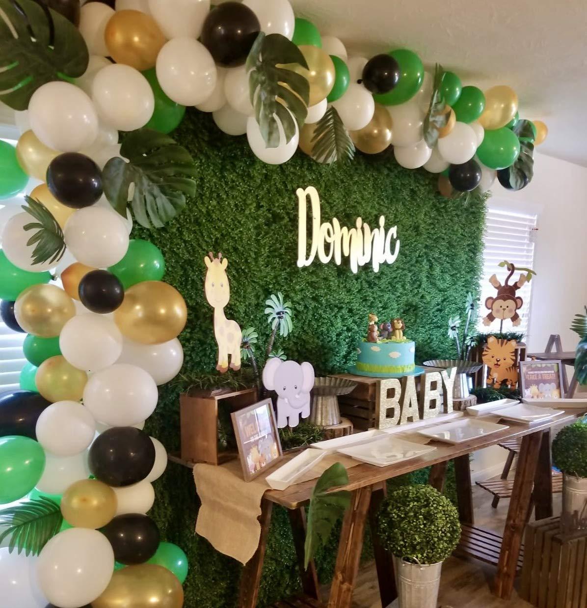 Instapalm Jungle Theme Party Supplies | Premium 163pcs Safari Balloon Garland Kit - 130pcs Inflatable Green, Gold Balloons, 20pcs Green Palm Leaves | Kids Boy Birthday Baby Shower Safari Decorations