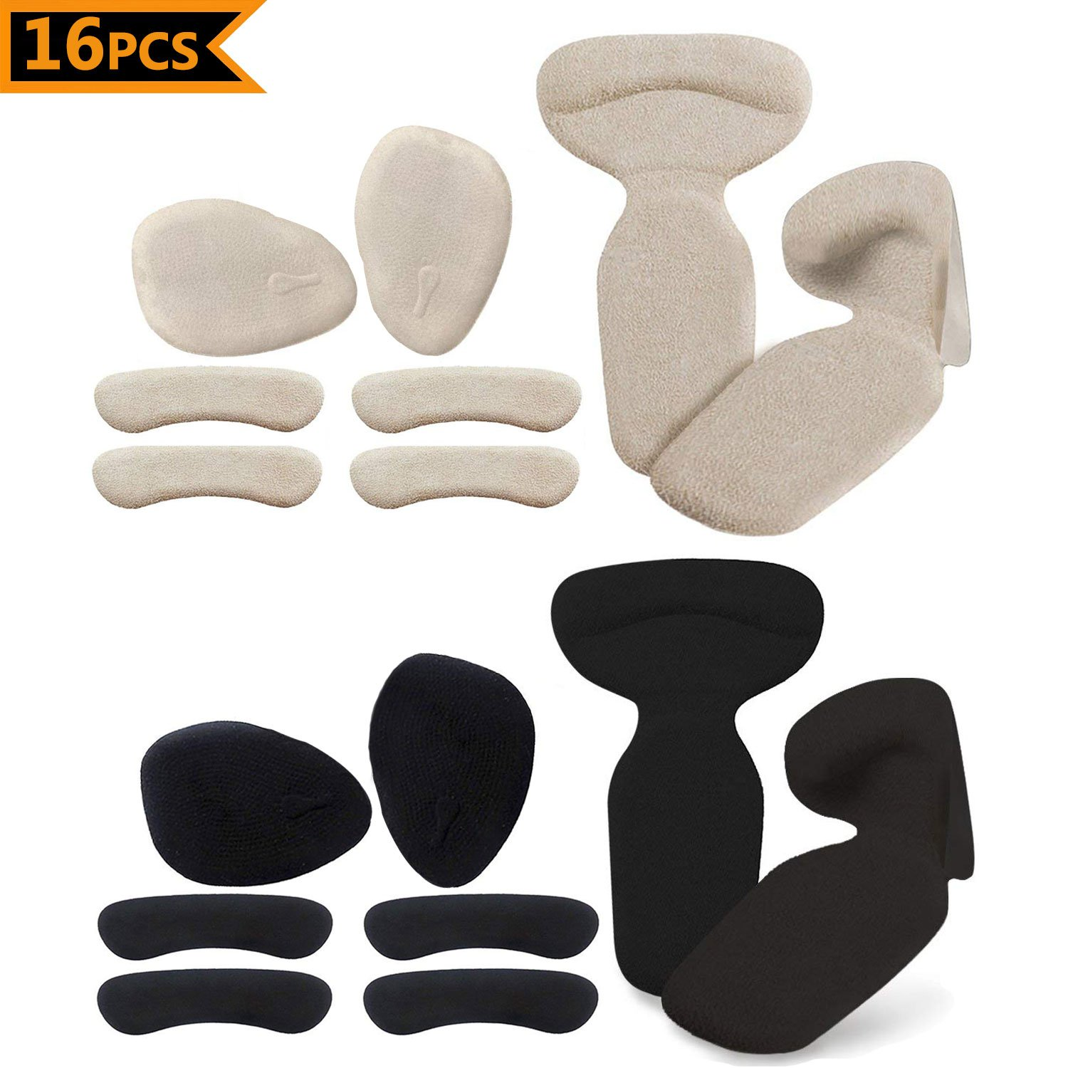 LWCUS Heel Cushion Inserts, Heel Grips Protector Pads, Shoe Filler Inserts Pads For Too Big Shoes, High Heel Insoles, Metatarsal Pain Relief Pads Ball of Foot Cushions for Women (16 pcs)